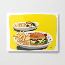 Homemade Cheeseburger Metal Print