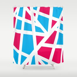 Abstract Interstate  Roadways Aqua Blue & Hot Pink Color Shower Curtain