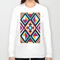 quilt Long Sleeve T-shirts featuring Quilt Pattern by k_c_s