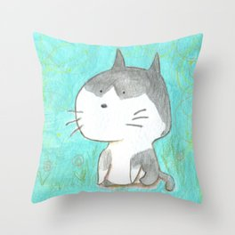 Big head cat Throw Pillow