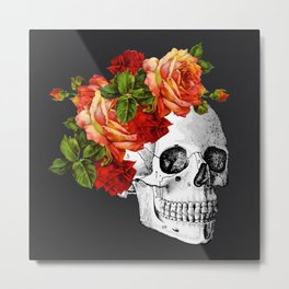 Day of the Dead Black Linen Metal Print