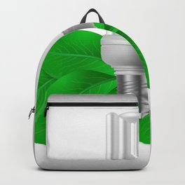 Energy saving bulb and green leaves Backpack