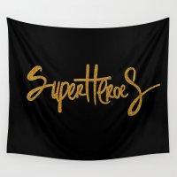 superheroes Wall Tapestries featuring Superheroes by Indah Irawan