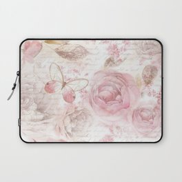 Vintage pastel pink brown butterfly floral typography Laptop Sleeve
