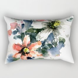 Petals in the Rain Watercolor Loose Floral Painting by Mylittlebasil Studio Rectangular Pillow