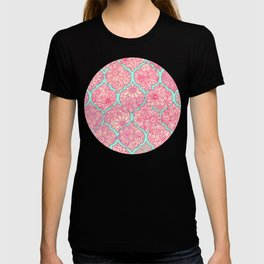 Moroccan Floral Lattice Arrangement in Pinks T-shirt