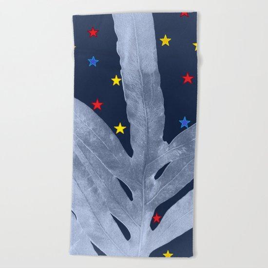 Green Fern Silver Blue with Starry Night, Stars Beach Towel