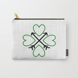 St. Patrick's Day Shamrock Lucky Charm Green Clover Veart with Arrows Carry-All Pouch