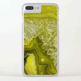 Green pantone agate mineral gem stone- Beautiful backdrop Clear iPhone Case