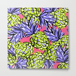 Pineapples on Pink Metal Print