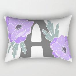 Letter A Floral Monogram Rectangular Pillow