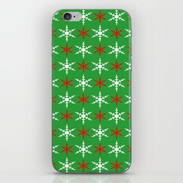 Red and white snowflakes pattern iPhone Skin