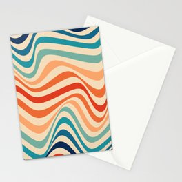 Retro 70s Color Palette | Optical Wave Illusion Stationery Cards