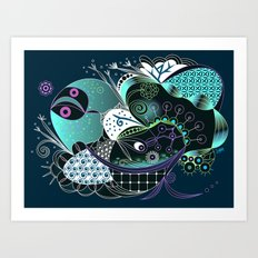 Winter tangle night Art Print