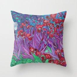 Vincent Van Gogh Irises Painting Cranberry Purple Palette Throw Pillow