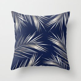 White Gold Palm Leaves on Navy Blue Throw Pillow
