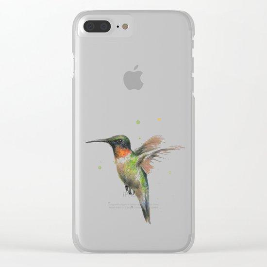 Hummingbird Watercolor Bird Animal Ruby Throated Clear iPhone Case