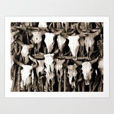 Mexican Cow Skulls Art Print