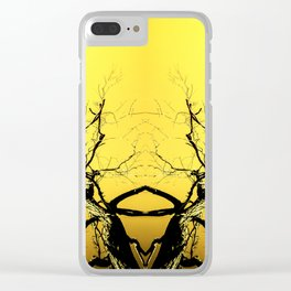 Yellow Tree Forest Antlers Clear iPhone Case