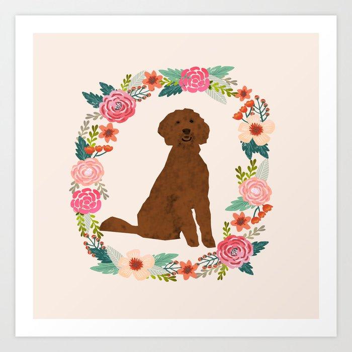 golden doodle dog floral wreath dog gifts pet portraits Kunstdrucke