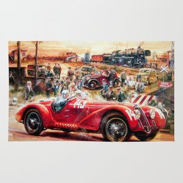 Retro racing car painting Rug