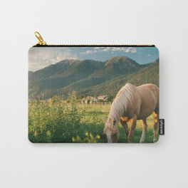 Pretty Horse Eating Grass in the Montana Sunset Carry-All Pouch