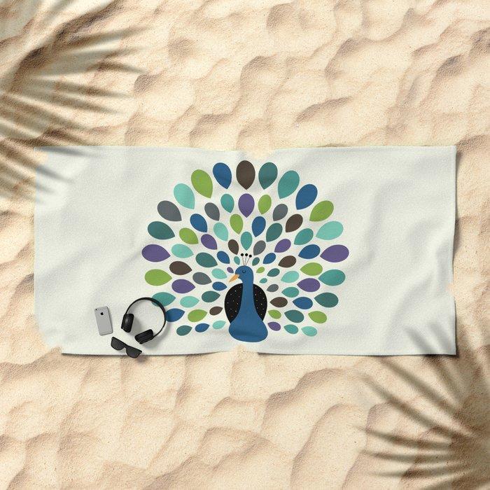 Peacock Time Beach Towel