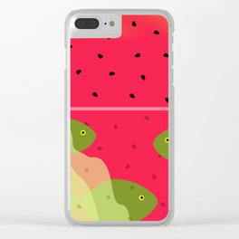 Watermelon Underwater Scene Clear iPhone Case