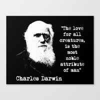 darwin Canvas Prints featuring Darwin by PsychoBudgie