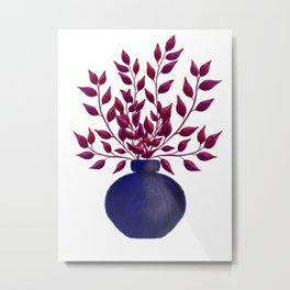 Vase with leaf filled branches Metal Print