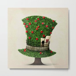 Fantasy green hat in the shape of tree with flowers Metal Print