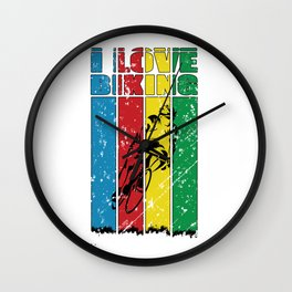 I Love Biking - Road Biking - Cycling Colors - Great Gift For Bikers - Multi Color & Black Logo Design - Distressed Look Wall Clock