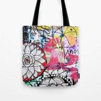 alisa burke Tote Bags featuring mixed media doodles by Alisa Burke