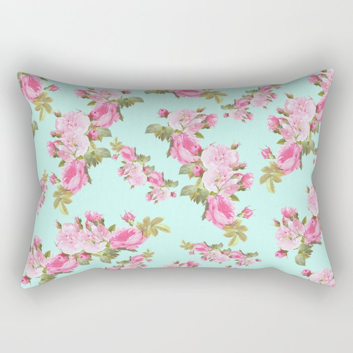 Pink & Mint Green Floral Rectangular Pillow