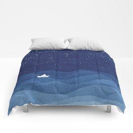 blue ocean waves, sailboat ocean stars Comforters