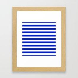 Cobalt Blue and White Horizontal Beach Hut Stripe Framed Art Print