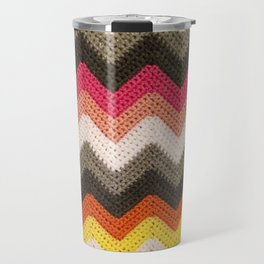 Crochet Chevron - Pink, Orange & Gray Travel Mug