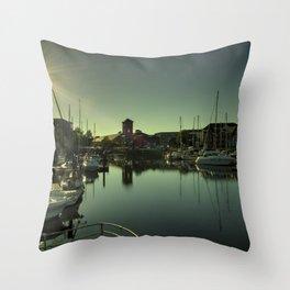 Swansea Docks Reflections Throw Pillow