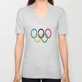 Flag of olympics games-olympic,olympic game,sport,coubertin, circles,medal,fun,international Unisex V-Neck