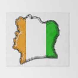 Ivory Coast Cote d'Ivoire Map with Flag Throw Blanket