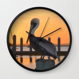 sunset pelican Wall Clock