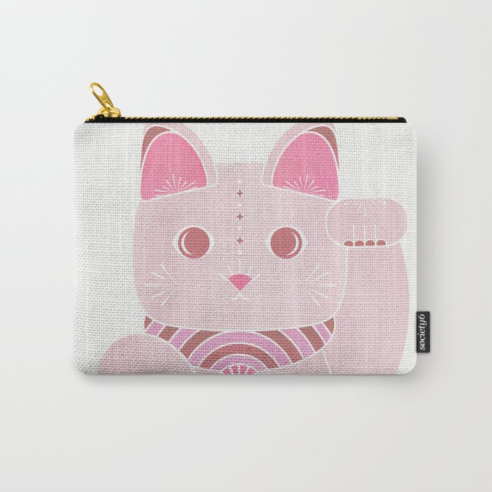 Chinese Lucky Kitty - Cute Pink Cat Carry-All Pouch