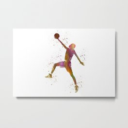 Basketball player in watercolor Metal Print
