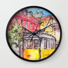 Yellow tram in Lisbon ink & watercolor illustration Wall Clock