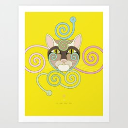 Yellow Spiral Cat Art Print