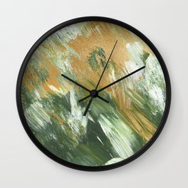 Golden Spring Acrylic Painted Backgrounds Wall Clock