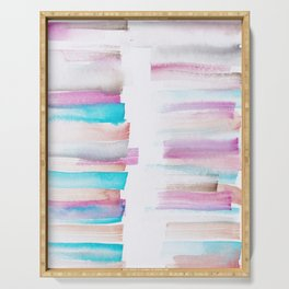 12  | 181101 Watercolour Palette Abstract Art | Lines | Stripes | Serving Tray