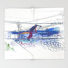 Spinning the Deck - Trick Scooter Sports Art Throw Blanket