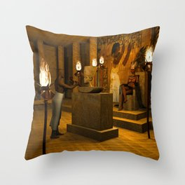 The creation of Queen Nefertiti's bust Throw Pillow