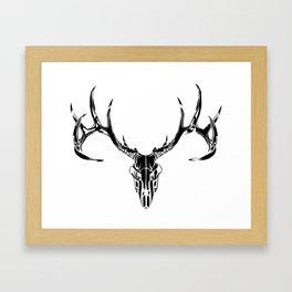 Black Deer Skull Framed Art Print